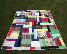 """Recycled t-shirt quilt. A """"someday"""" project for when Danny's finally ready to give up a few of his old t-shirts!"""