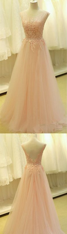 2016 Custom Charming Blush Pink Tulle Chiffon Prom Dress,See Through Sleeveless Evening Dress,Lace Applique Sexy Backless Prom Dress