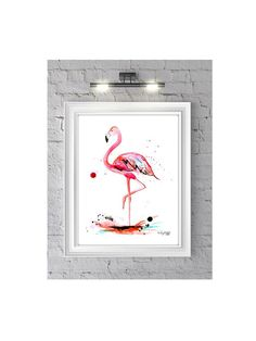 The Pink Flamingo Watercolor Illustration Print-- Home/office decor and wall art, Pink prints by KelseyMDesigns on Etsy https://www.etsy.com/listing/200009810/the-pink-flamingo-watercolor