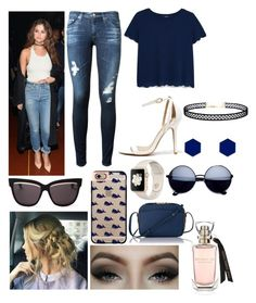 """""""Day with Selena"""" by hailey1011 ❤ liked on Polyvore featuring AG Adriano Goldschmied, LULUS, MANGO, Christian Dior, L.K.Bennett, Casetify and Wolf & Moon"""