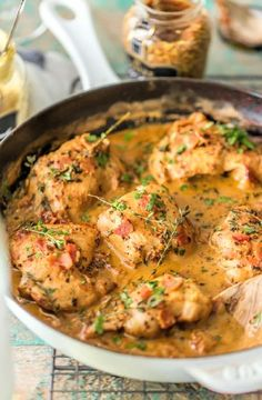 Low FODMAP Recipe and Gluten Free Recipe - Chicken with wine, bacon and herbs