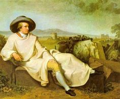 Goethe reclining with outdoor backdrop
