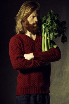 Beardy Messiah Hipster preaches the gospel of fiber and cozy cableknits. Srsly, what were they going for in this photoshoot? Is this for Celery Weekly, the Cableknit news, or maybe...Kinfolk!