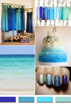 different blues for bridesmaid dresses - Each Girl in a different colour shade of blue dress