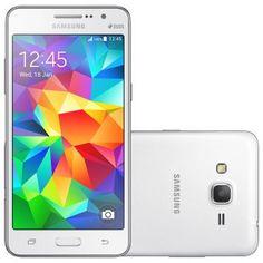 Celular Smartphone Samsung Galaxy Gran Prime Duos G530H Branco -Dual Chip, 3G, Tela 5, Câmera 8MP + Frontal 5MP, Quad Core 1.2Ghz, 8GB, Android 4.4