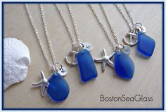 Cobalt Blue Sea Glass Bridesmaid Necklaces Royal by BostonSeaglass, $22.00