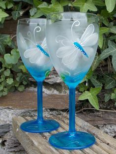 Hand painted Dragonfly Wine glasses in Blue shades by LubyLouArt