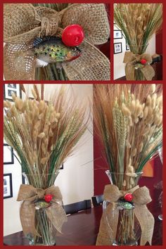 Fishing (Bass) theme for Dads 60th birthday. Bobbers, vases, fish with hooks, burlap and natural grasses! Turned out beautiful!