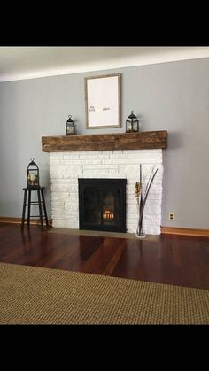 Custom made sized mantles or floating shelves. Distressed and any color stain yo. - Custom made sized mantles or floating shelves. Distressed and any color stain you would like. White Wash Brick Fireplace, Wood Mantle Fireplace, Painted Brick Fireplaces, Brick Fireplace Makeover, Fireplace Remodel, Fireplace Design, White Painted Fireplace, Electric Fireplace With Mantle, Stacked Stone Fireplaces
