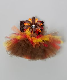 Take a look at this Bride and Babies Autumn Harvest Tutu Dress & Flower Clip - Infant on zulily today!
