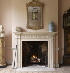 Timeless Interiors Or A Passing Trend? How To Tell The Difference - wonderful fireplace mantel - via Jamb - London Marble Fireplaces, Fireplace Mantels, Mantles, Fake Fireplace, Fireplace Ideas, Cosy Home, Colour Story, World Of Interiors, Country Style Homes