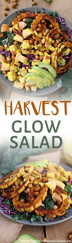 This harvest glow salad includes perfectly roasted delicata squash & chickpeas served over a bed of chopped kale & topped with a Turmeric Tahini Dressing. Great Salad Recipes, Healthy Salad Recipes, Vegetarian Recipes, Vegan Foods, Vegan Meals, Healthy Foods, Healthy Life, Dinner Party Recipes, College Meals