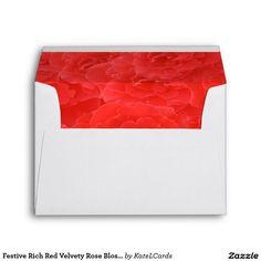 Festive Rich Red Velvety Rose Blossoms Bouquet Envelopes