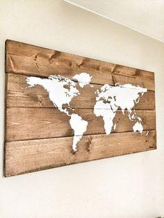 Rustikale Holz Weltkarte Rustikale Dekor Von Cherrytreegallery