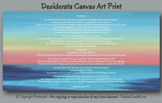 Beach decor, Desiderata wall art by Denise Cunniff - ArtFromDenise.com. View more info at https://www.etsy.com/listing/243661369