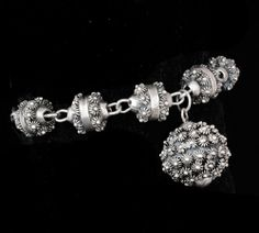 vintage Mexican silver Etruscan charm Bracelet sterling Taxco spectacular heavy