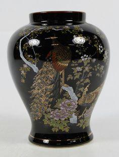 Vintage Black Glaze Enamee Peacock Ando Vase Japan