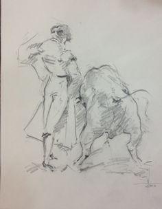 Torero. Dibujo a Lápiz grafito papel de bocetos A4