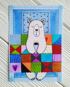 """Татьяна Благина on Instagram: """"Так понравился спящий мишка от @artliner.school ,что мы решили нарисовать своего,получился очень милый белый медведь! #рисование #ярисую…"""""""
