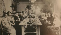 A Seattle women's organization met for dinner in one of the banquet rooms at the YWCA.