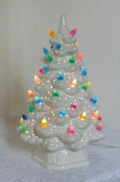 vintage ceramic Christmas tree with lights. This vintage ceramic Christmas tree has lots of colorful little bulbs and lot of small holes to let the Christmas Past, Merry Little Christmas, Christmas Items, Christmas Holidays, Christmas Crafts, Christmas Decorations, Christmas Things, Holiday Decorating, Vintage Decorations