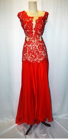 Red Lace Ballroom Dress  now in this gorgeous red!