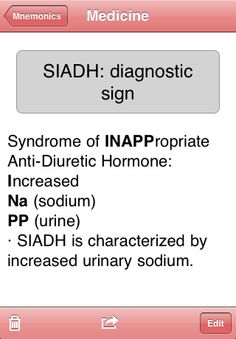 SIADH mnemonic