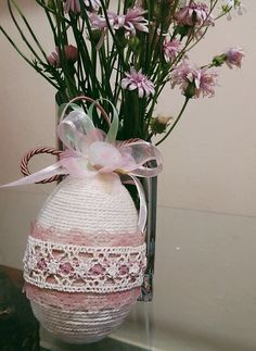 Vintage easter egg decorated with lace