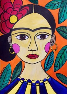 A fun art community for artists of all abilities & interests! Join us & share your art. Mexican Paintings, Arte Van Gogh, Kahlo Paintings, Frida Art, Cubism Art, Mexican Folk Art, Art Classroom, Art Lessons, Watercolor Art