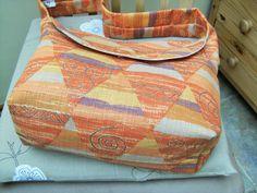 Cotton Handbag from Furnishing Fabric with orange Diamondshapes, ECO friendly, Vegan by dorotheasdesign on Etsy