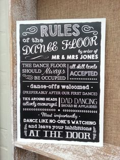 Personalised rules of the dancefloor chalkboard style wedding sign/print vintage PERSONALISED RULES Marriage Reception, Wedding Reception, Wedding Venues, Reception Ideas, Trendy Wedding, Diy Wedding, Wedding Day, Wedding Stuff, Dream Wedding