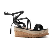 Flatforms Μαύρα δερματίνη lace-up και φελό στην σόλα Lace Up, Wedges, Shoes, Fashion, Moda, Zapatos, Shoes Outlet, Fashion Styles, Shoe