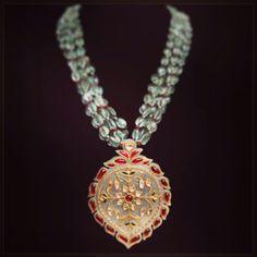 Stunning jade Polki ruby emerald pendant. @ Umrao Jewels