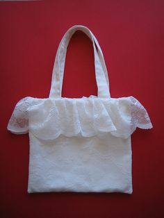Handmade using curtain fabrics.     The New Stylish White, Vibrant Red Large Ruffle Double Handle Satchel Hobo Handbag w/Shoulder Strap