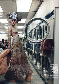 A bizarre setting in a laundry