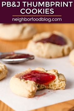 These easy thumbprint cookies are perfect for a cookie exchange or as a favorite holiday cookie to snack on. Grab this delicious cookie recipe and watch it become a new family tradition! Delicious Cookie Recipes, Brownie Recipes, Baking Recipes, Dessert Recipes, Jam Cookies, Yummy Cookies, Chocolate Chip Cookies, Peanut Butter Thumbprint Cookies, Chewy Brownies