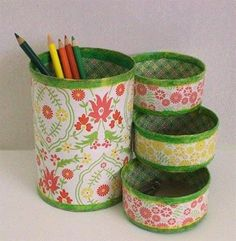 tin can crafts Diy Recycling, Recycle Cans, Tin Can Crafts, Diy And Crafts, Arts And Crafts, Diys, Craft Projects, Projects To Try, Pencil Holder