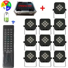 1720.00$  Buy now - http://alifzh.worldwells.pw/go.php?t=32766089553 - Charging Case + 10PCS 5IN1 RGBWA LED Flat Par Lights Battery Operated Wireless DMX Stage Party DJ Uplighting With Remote Control