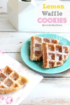 Lemon Waffle Cookies ~ What a cute idea to turn waffles into yummy cookies! Just Desserts, Delicious Desserts, Yummy Food, Waffle Cookies, Cookies Et Biscuits, Cookie Recipes, Dessert Recipes, Waffle Maker Recipes, Crepes And Waffles