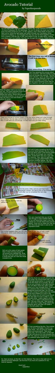 Avocado Cane/Skinner Blend Polymer Clay Tutorial by ~paperfaceparade on deviantART