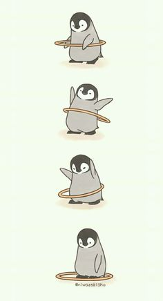 Make Gemes, 10 Cute Illustrations of Little Penguins Perform Daily Tasks Cute Disney Wallpaper, Wallpaper Iphone Cute, Cute Cartoon Wallpapers, Kawaii Wallpaper, Mood Wallpaper, Animal Wallpaper, Cute Comics, Funny Comics, Pinguin Illustration