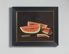 Robert Young Antiques - Collection. Sliced Watermelon and Knife, Naive School Still Life  Olis on Canvas ,American, From Cincinatti, Ohio, c1860 ,American, c.1860. #BritishFolkArt