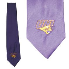 Purple tie with embroidered UNI logo. $27.99