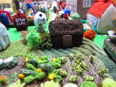 Wonderful Knitted UK Village on Display Recently at Black Sheep Wools in Warrington UK