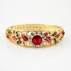 Multicolor flower pattern Enamel Bangle with round red crystal golden bangle clip-on button