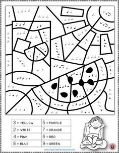 MUSIC WORKSHEETS: COLOR by MUSIC NOTES and RESTS This set contains 26 SUMMER Music Coloring music theory worksheets