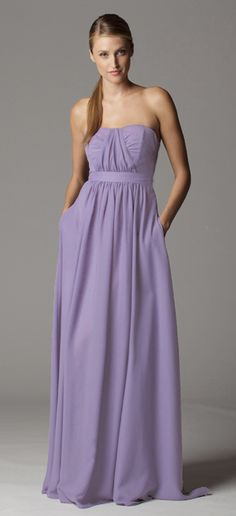 Style 622. Strapless center gathered, ruched sweetheart neckline bridesmaid dress with built in waistband.  Ariadress.com