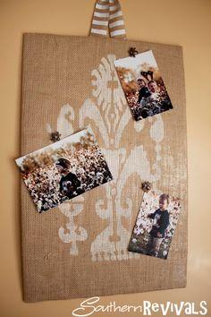 Burlap magnet board! Southern Revivals