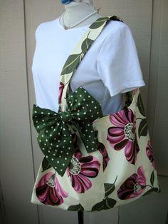 Handbag   Tote Bag  Book Bag  Handmade Canvas Bag  by AnniesAttic, $24.95 - love the bow!
