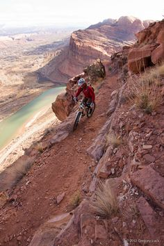#bike    Portal Trail, Moab, Utah. Near-winter day on the shadowed upper benches of of Poison Spider Mesa